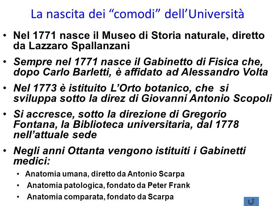 La nascita dei comodi dellUniversità Nel 1771 nasce il Museo di Storia naturale, diretto da Lazzaro Spallanzani Sempre nel 1771 nasce il Gabinetto di