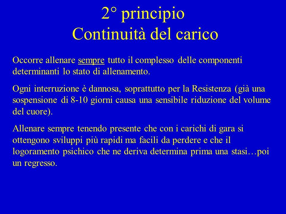 2° principio Continuità del carico Occorre allenare sempre tutto il complesso delle componenti determinanti lo stato di allenamento.