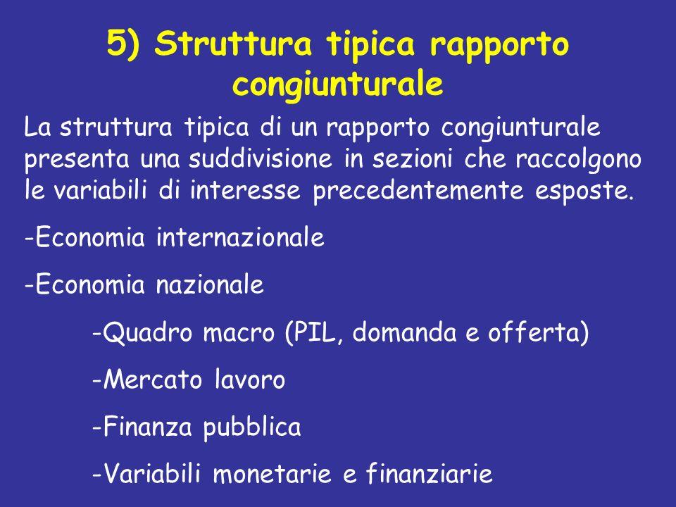 5) Struttura tipica rapporto congiunturale La struttura tipica di un rapporto congiunturale presenta una suddivisione in sezioni che raccolgono le var