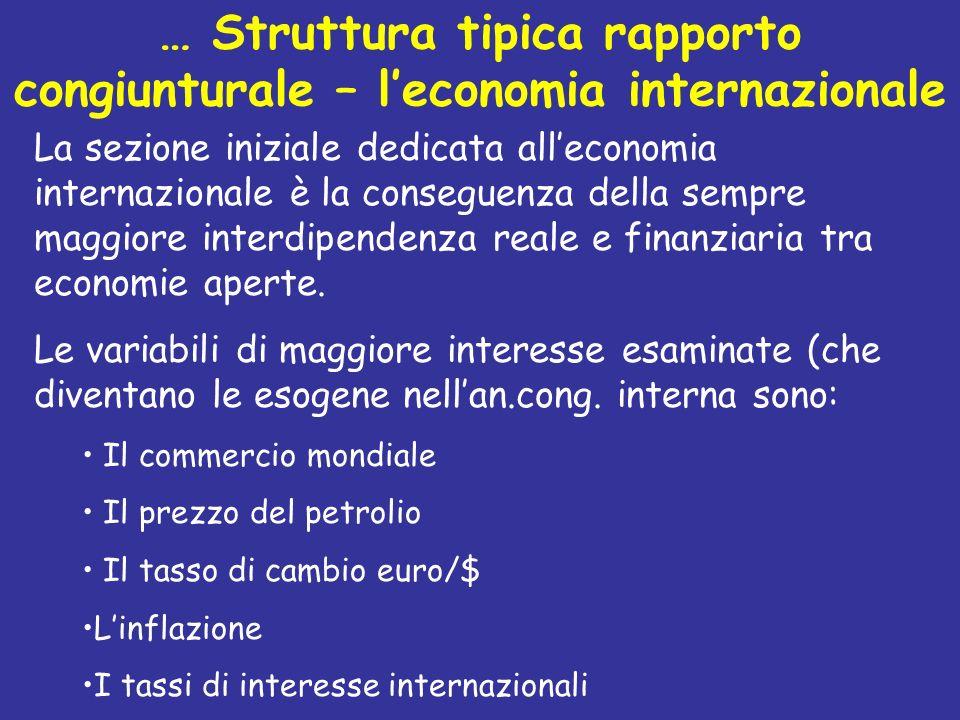 … Struttura tipica rapporto congiunturale – leconomia internazionale La sezione iniziale dedicata alleconomia internazionale è la conseguenza della se