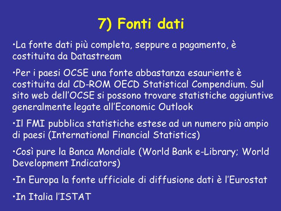 7) Fonti dati La fonte dati più completa, seppure a pagamento, è costituita da Datastream Per i paesi OCSE una fonte abbastanza esauriente è costituit