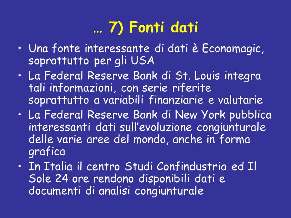 … 7) Fonti dati Una fonte interessante di dati è Economagic, soprattutto per gli USA La Federal Reserve Bank di St. Louis integra tali informazioni, c