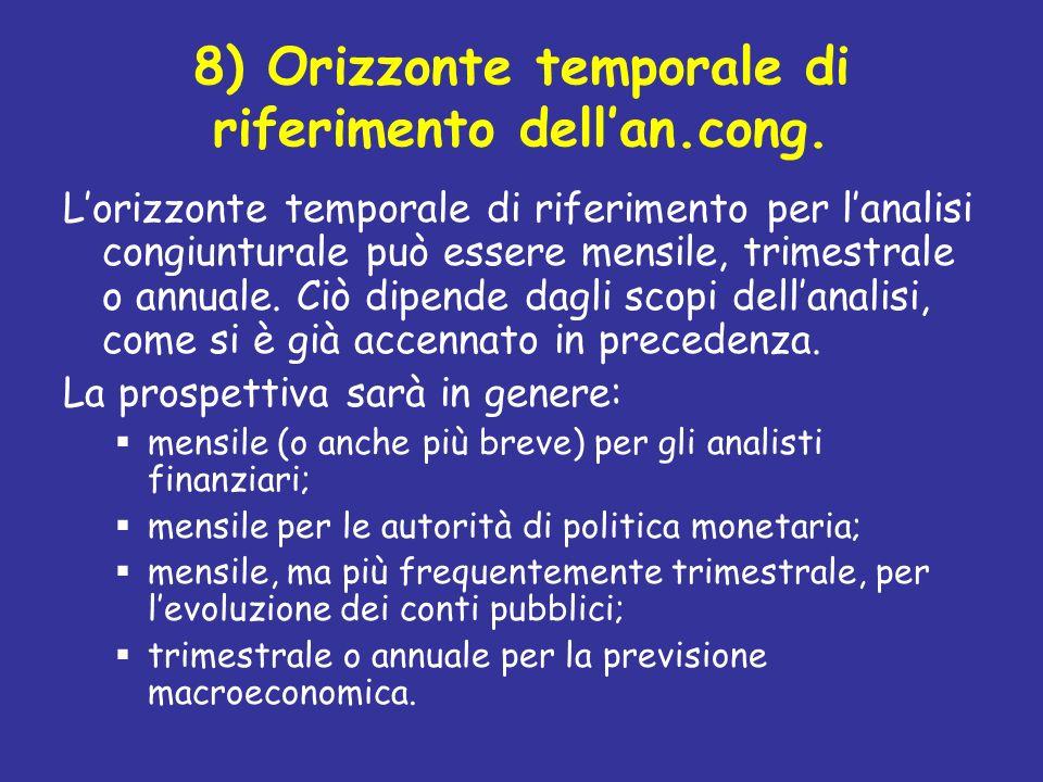 8) Orizzonte temporale di riferimento dellan.cong. Lorizzonte temporale di riferimento per lanalisi congiunturale può essere mensile, trimestrale o an