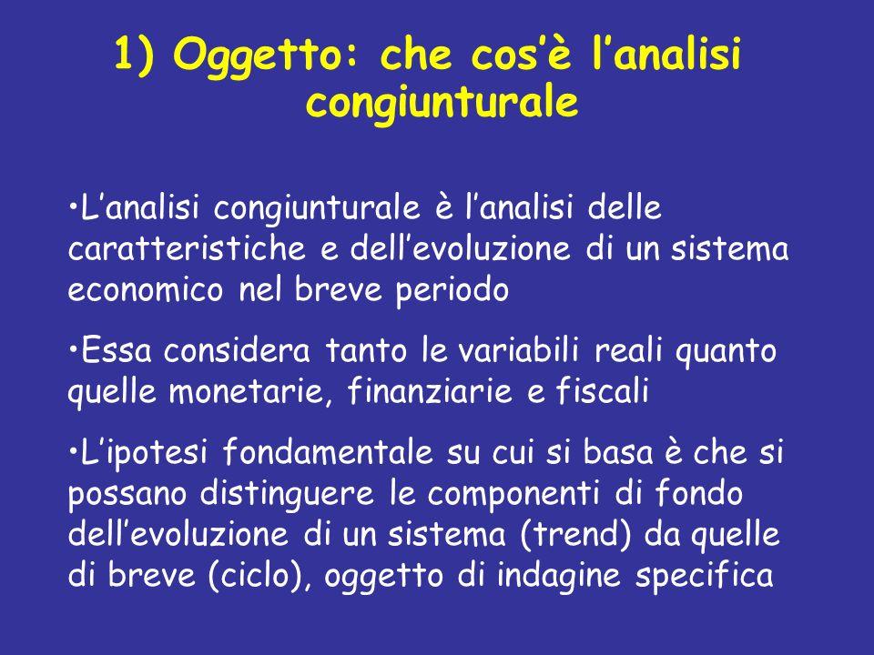 1) Oggetto: che cosè lanalisi congiunturale Lanalisi congiunturale è lanalisi delle caratteristiche e dellevoluzione di un sistema economico nel breve