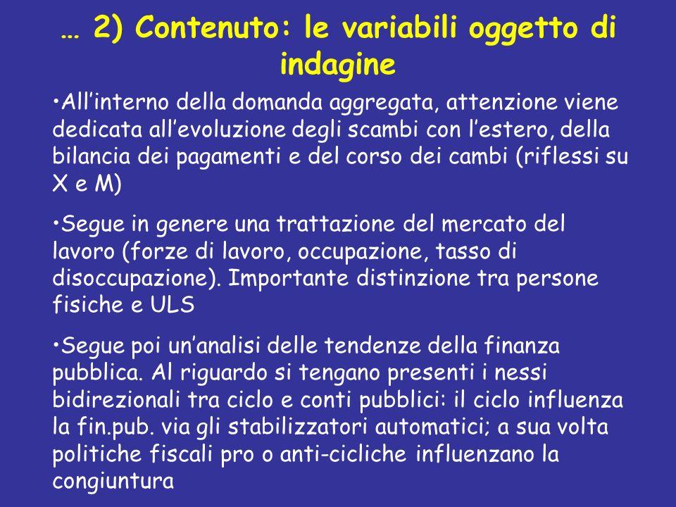 … 2) Contenuto: le variabili oggetto di indagine Allinterno della domanda aggregata, attenzione viene dedicata allevoluzione degli scambi con lestero,