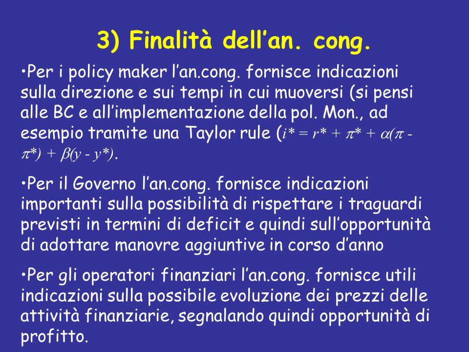 3) Finalità dellan. cong. Per i policy maker lan.cong. fornisce indicazioni sulla direzione e sui tempi in cui muoversi (si pensi alle BC e allimpleme