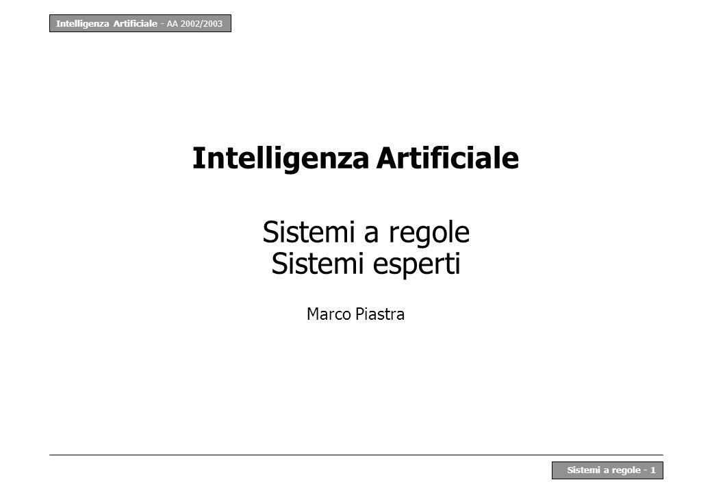 Intelligenza Artificiale - AA 2002/2003 Sistemi a regole - 1 Intelligenza Artificiale Sistemi a regole Sistemi esperti Marco Piastra
