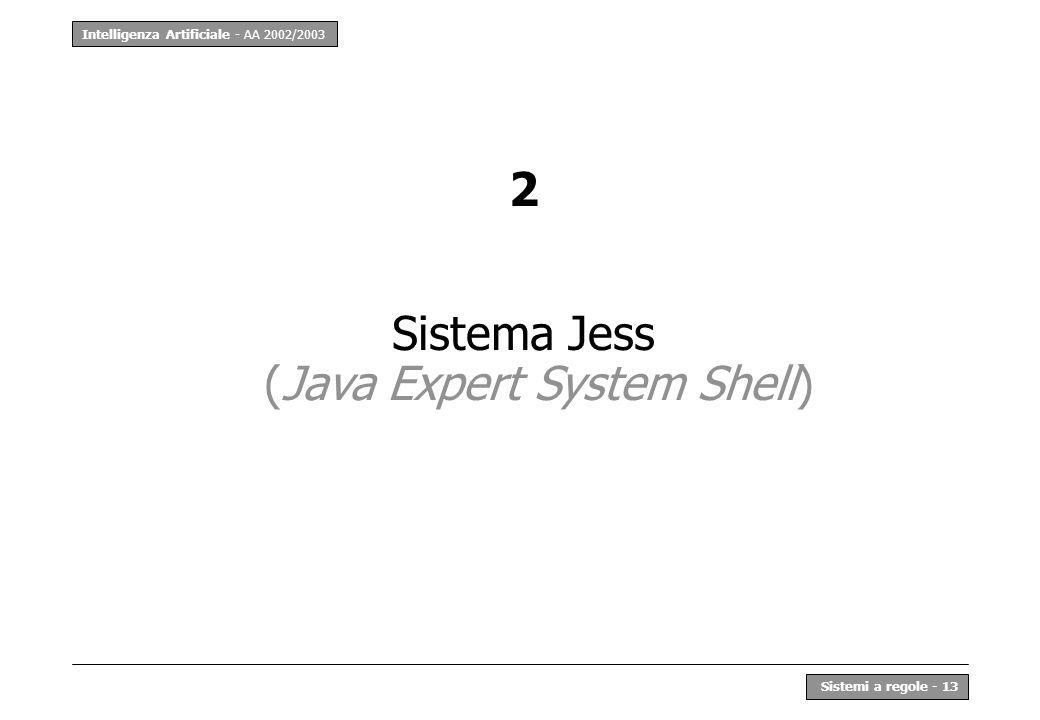 Intelligenza Artificiale - AA 2002/2003 Sistemi a regole - 13 2 Sistema Jess (Java Expert System Shell)