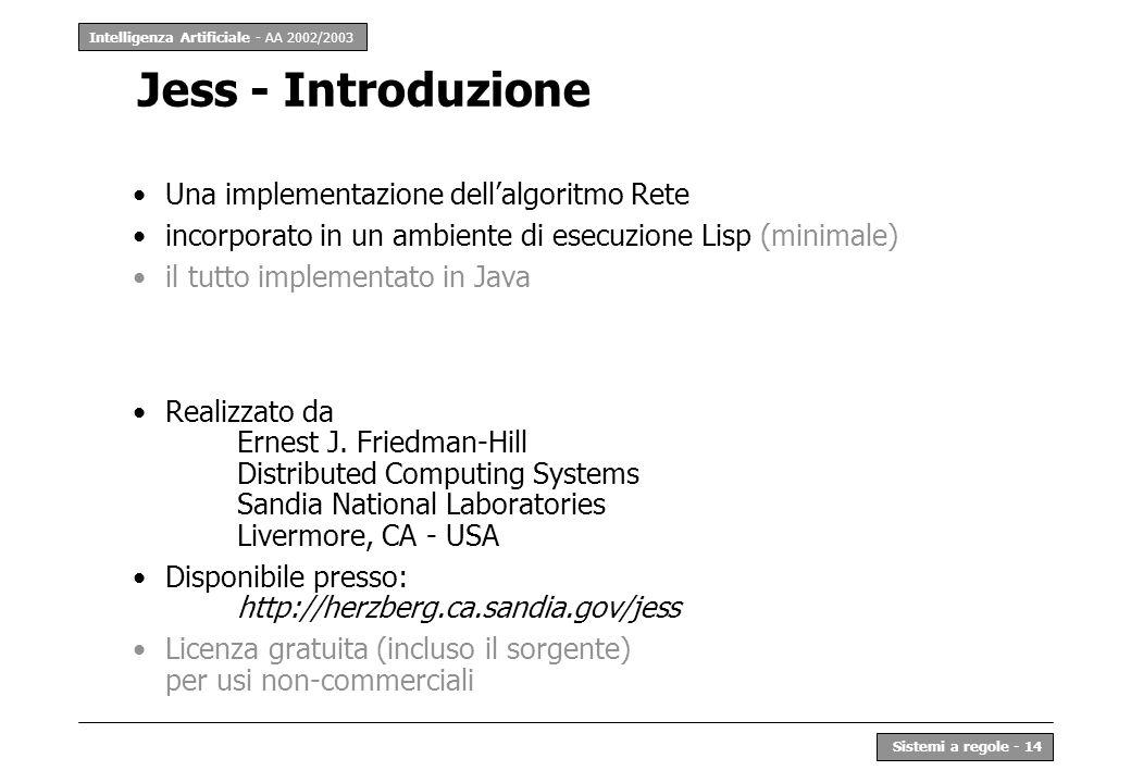 Intelligenza Artificiale - AA 2002/2003 Sistemi a regole - 14 Jess - Introduzione Una implementazione dellalgoritmo Rete incorporato in un ambiente di