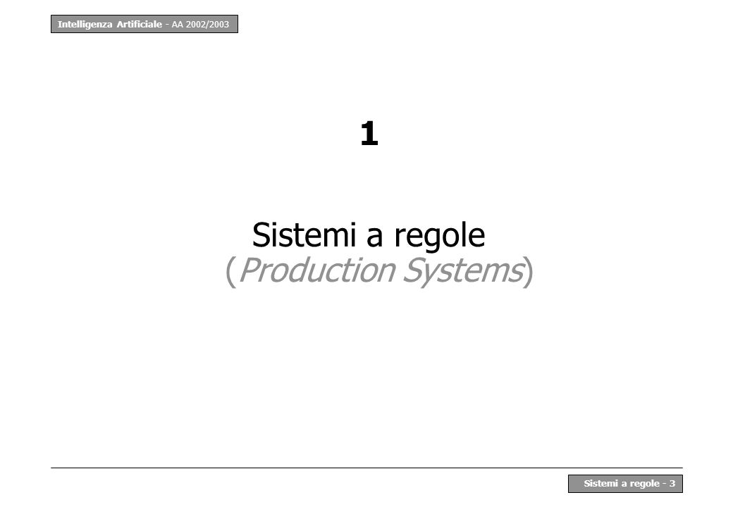 Intelligenza Artificiale - AA 2002/2003 Sistemi a regole - 3 1 Sistemi a regole (Production Systems)