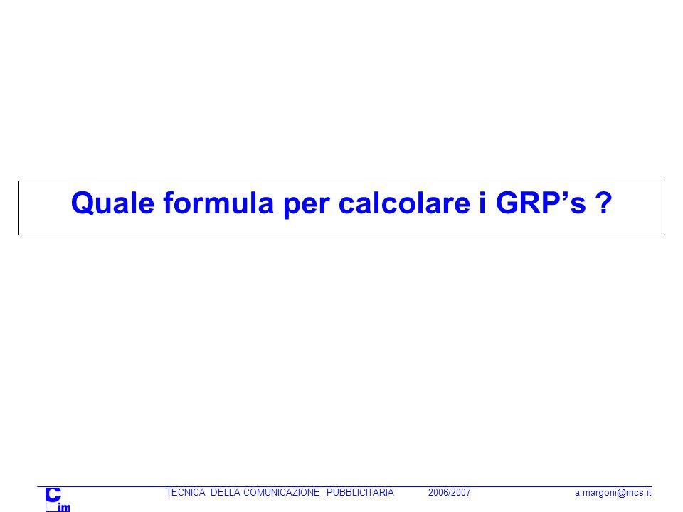 Quale formula per calcolare i GRPs