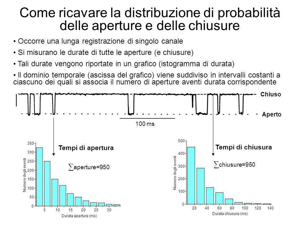 Come ricavare la distribuzione di probabilità delle aperture e delle chiusure Occorre una lunga registrazione di singolo canale Si misurano le durate