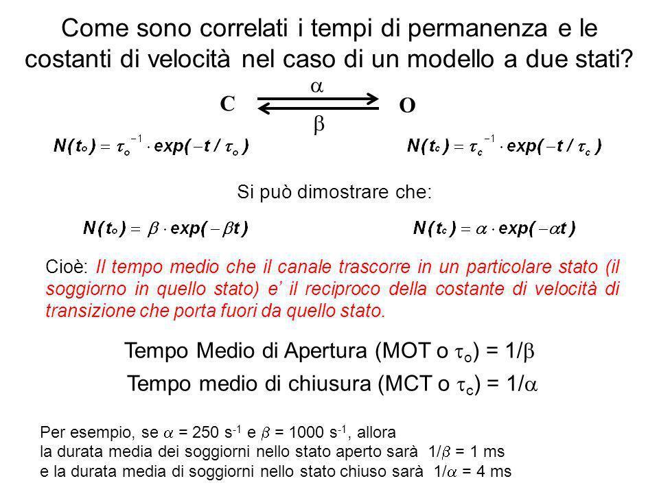 C O Come sono correlati i tempi di permanenza e le costanti di velocità nel caso di un modello a due stati? Tempo Medio di Apertura (MOT o o ) = 1/ Te