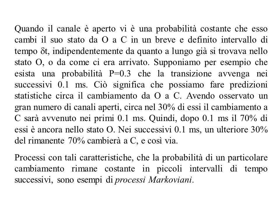 Quando il canale è aperto vi è una probabilità costante che esso cambi il suo stato da O a C in un breve e definito intervallo di tempo t, indipendent