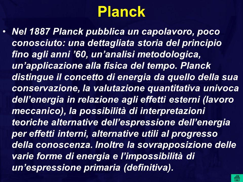 Nel 1887 Planck pubblica un capolavoro, poco conosciuto: una dettagliata storia del principio fino agli anni 60, unanalisi metodologica, unapplicazione alla fisica del tempo.