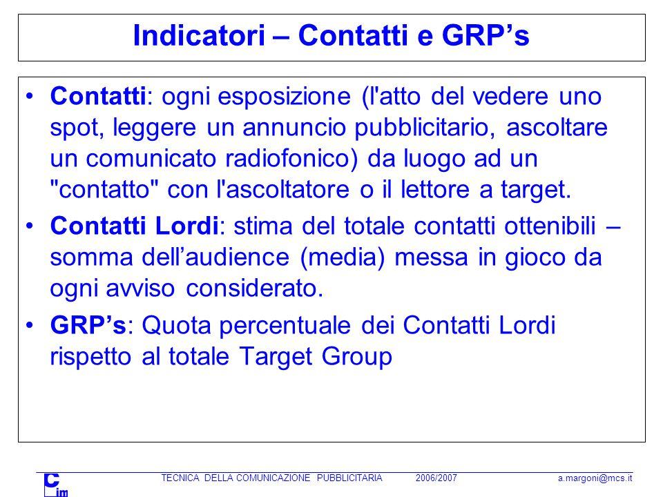 TECNICA DELLA COMUNICAZIONE PUBBLICITARIA 2006/2007 a.margoni@mcs.it Indicatori – Contatti e GRPs Contatti: ogni esposizione (l'atto del vedere uno sp