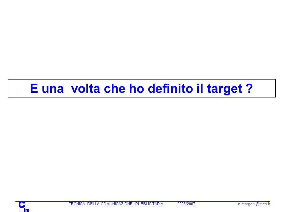 TECNICA DELLA COMUNICAZIONE PUBBLICITARIA 2006/2007 a.margoni@mcs.it E una volta che ho definito il target ?