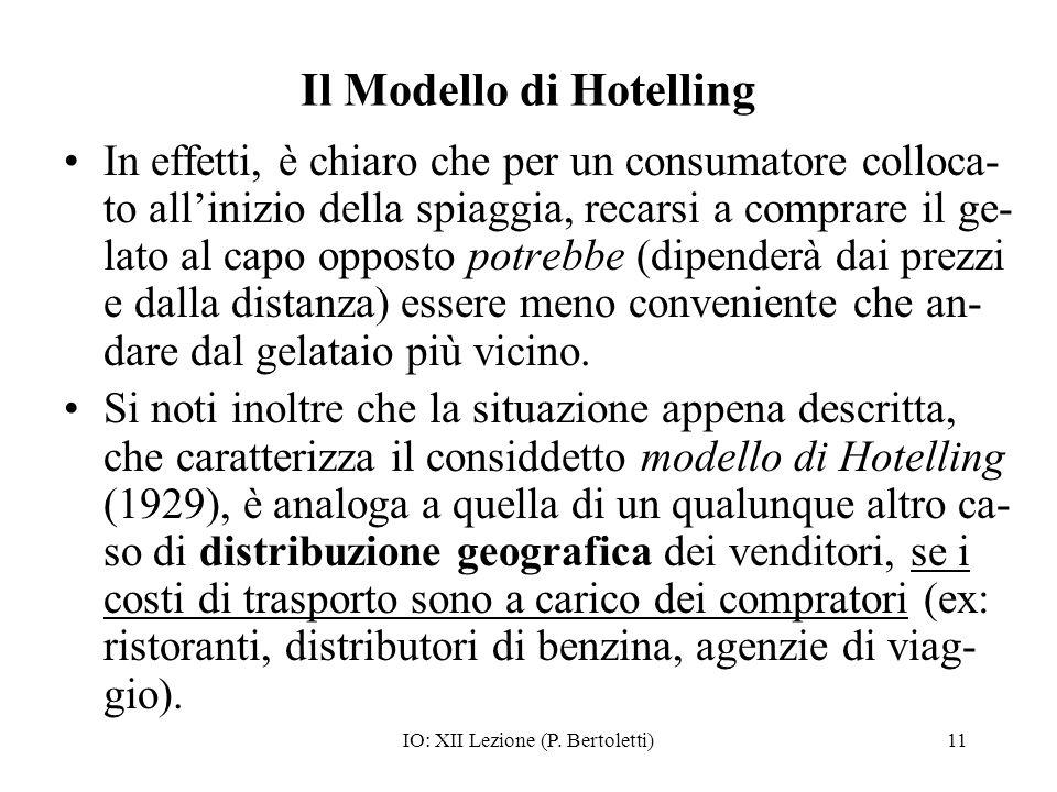 IO: XII Lezione (P. Bertoletti)11 Il Modello di Hotelling In effetti, è chiaro che per un consumatore colloca- to allinizio della spiaggia, recarsi a