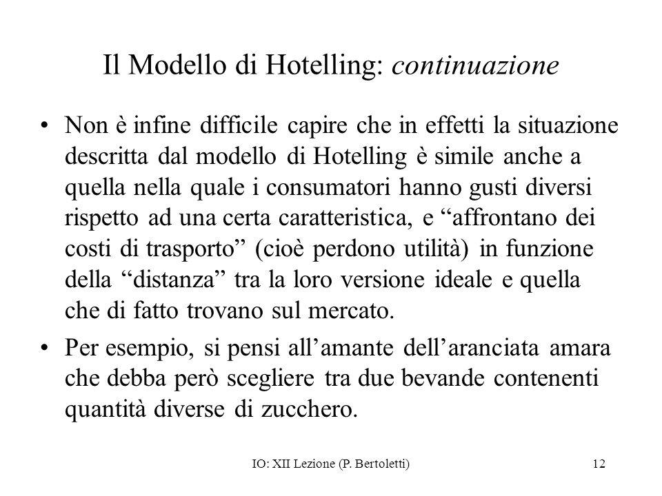 IO: XII Lezione (P. Bertoletti)12 Il Modello di Hotelling: continuazione Non è infine difficile capire che in effetti la situazione descritta dal mode