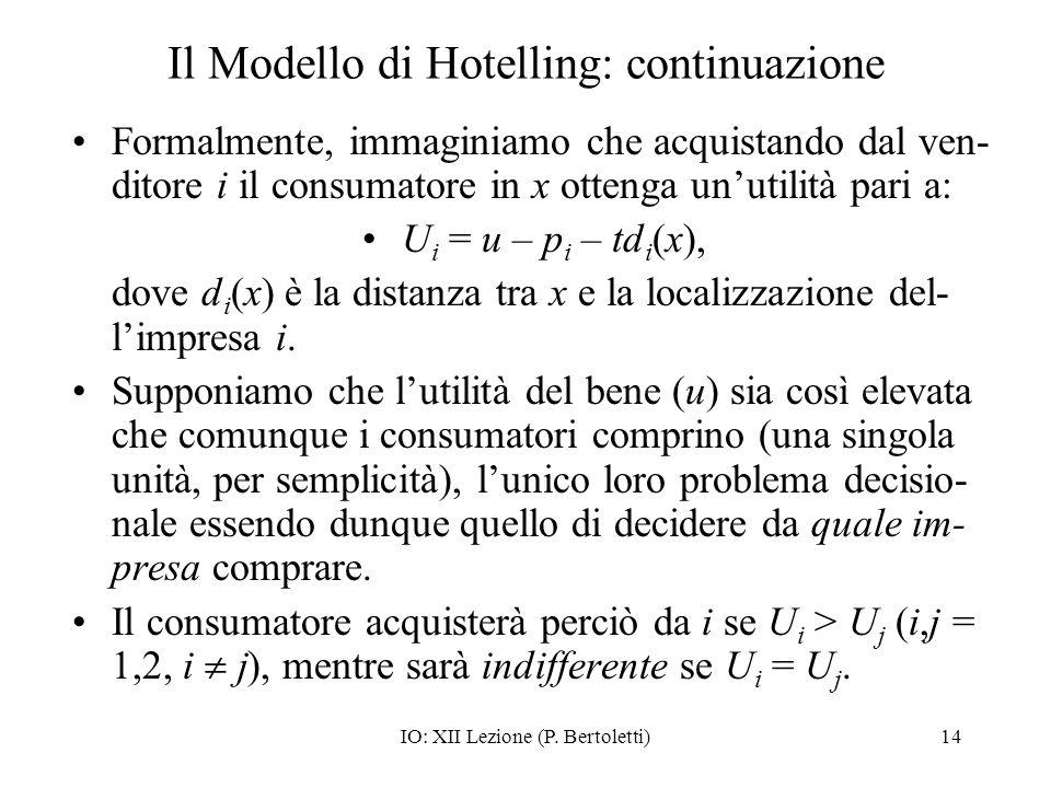 IO: XII Lezione (P. Bertoletti)14 Il Modello di Hotelling: continuazione Formalmente, immaginiamo che acquistando dal ven- ditore i il consumatore in