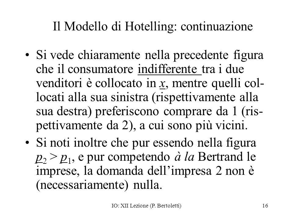 IO: XII Lezione (P. Bertoletti)16 Il Modello di Hotelling: continuazione Si vede chiaramente nella precedente figura che il consumatore indifferente t