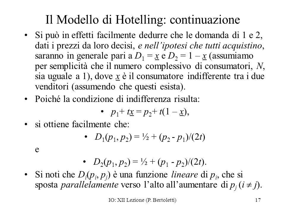 IO: XII Lezione (P. Bertoletti)17 Il Modello di Hotelling: continuazione Si può in effetti facilmente dedurre che le domanda di 1 e 2, dati i prezzi d