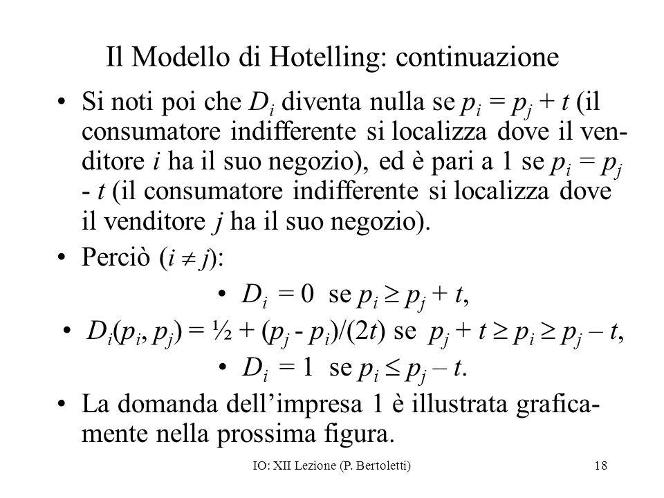 IO: XII Lezione (P. Bertoletti)18 Il Modello di Hotelling: continuazione Si noti poi che D i diventa nulla se p i = p j + t (il consumatore indifferen