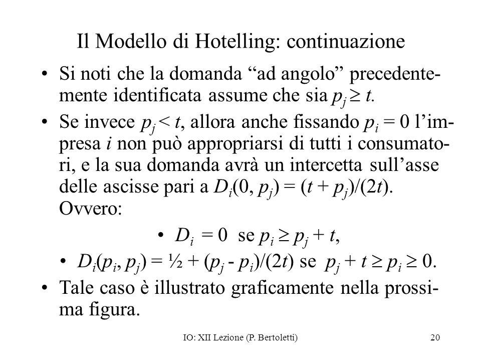 IO: XII Lezione (P. Bertoletti)20 Il Modello di Hotelling: continuazione Si noti che la domanda ad angolo precedente- mente identificata assume che si