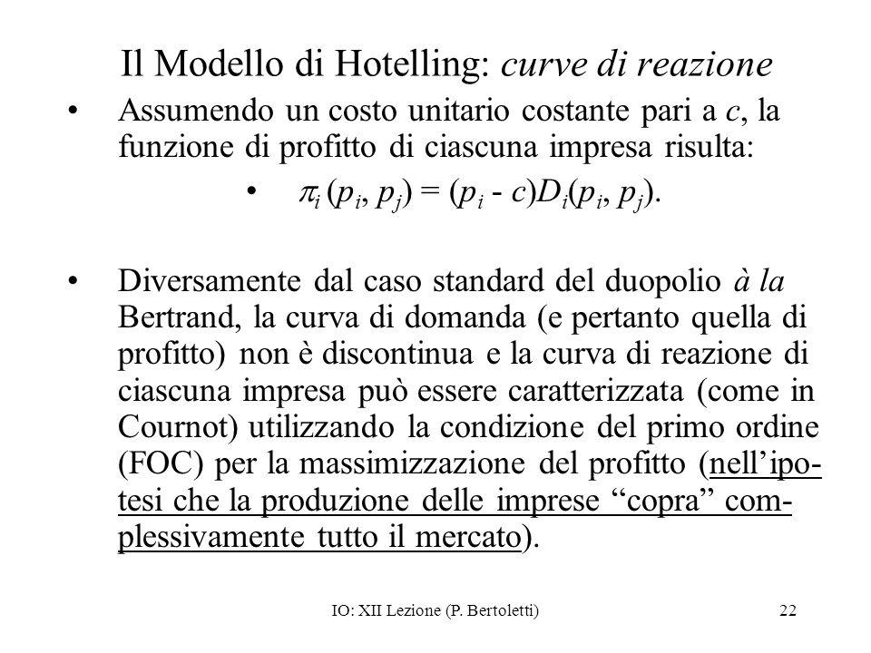 IO: XII Lezione (P. Bertoletti)22 Il Modello di Hotelling: curve di reazione Assumendo un costo unitario costante pari a c, la funzione di profitto di