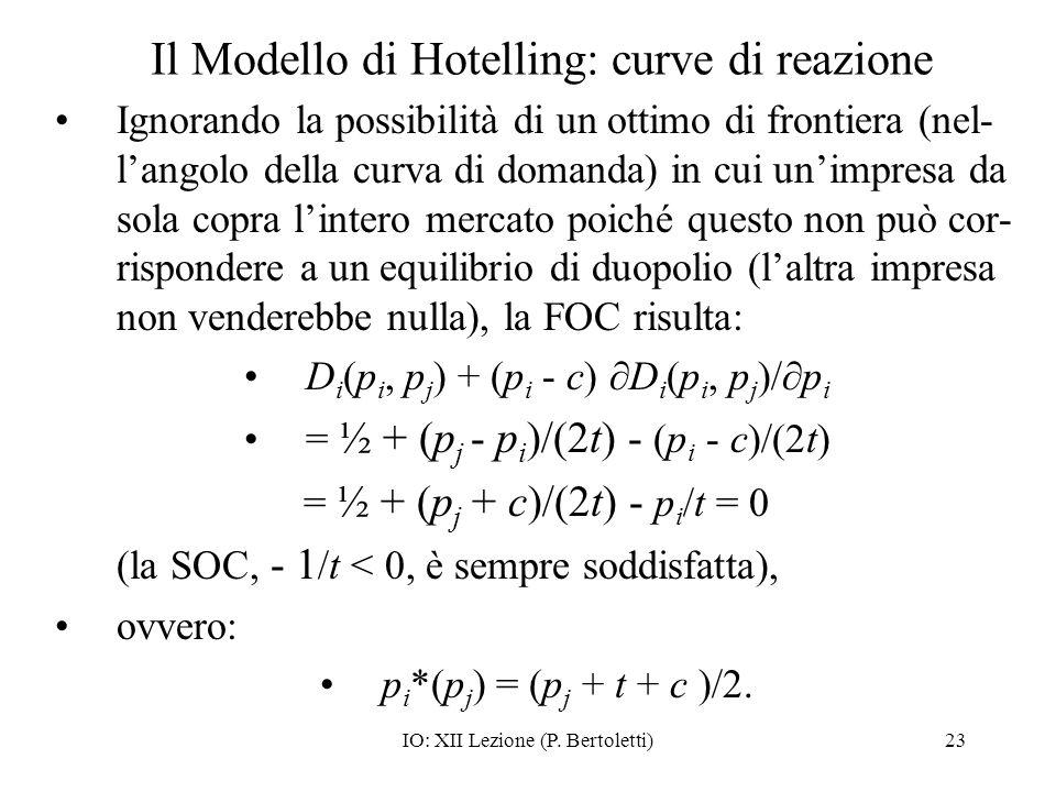 IO: XII Lezione (P. Bertoletti)23 Il Modello di Hotelling: curve di reazione Ignorando la possibilità di un ottimo di frontiera (nel- langolo della cu