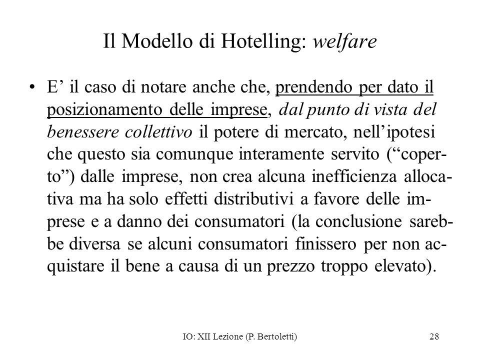 IO: XII Lezione (P. Bertoletti)28 Il Modello di Hotelling: welfare E il caso di notare anche che, prendendo per dato il posizionamento delle imprese,