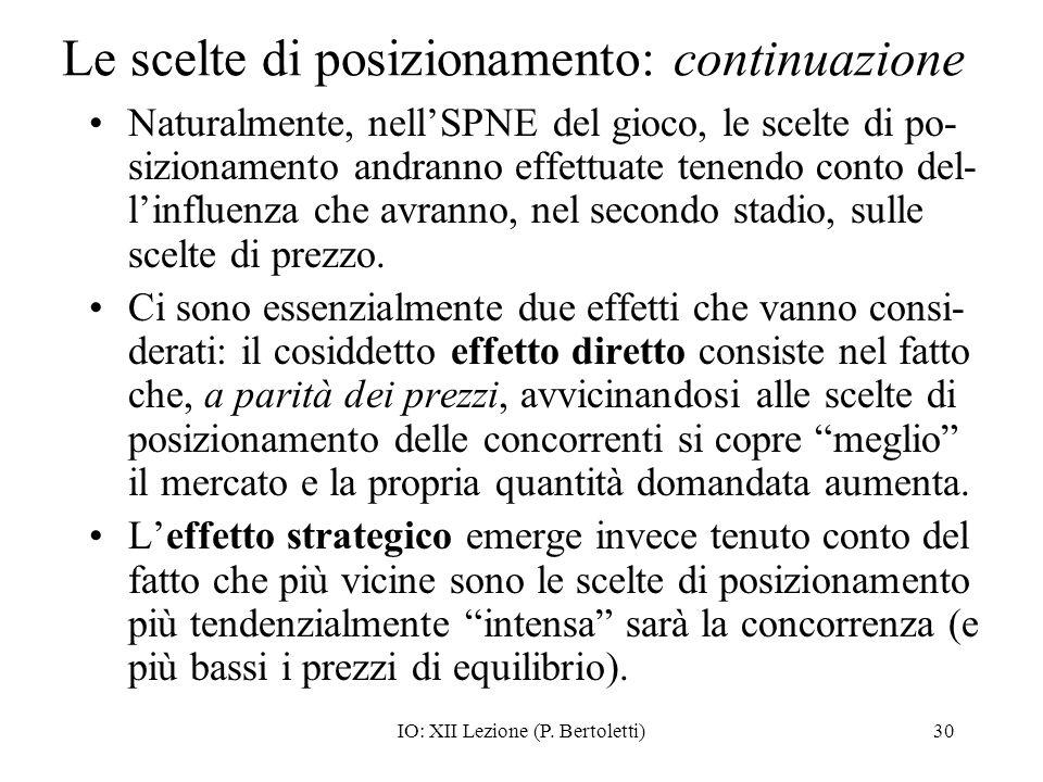 IO: XII Lezione (P. Bertoletti)30 Le scelte di posizionamento: continuazione Naturalmente, nellSPNE del gioco, le scelte di po- sizionamento andranno