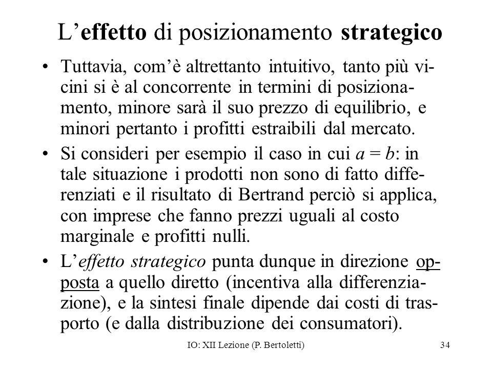 IO: XII Lezione (P. Bertoletti)34 Leffetto di posizionamento strategico Tuttavia, comè altrettanto intuitivo, tanto più vi- cini si è al concorrente i
