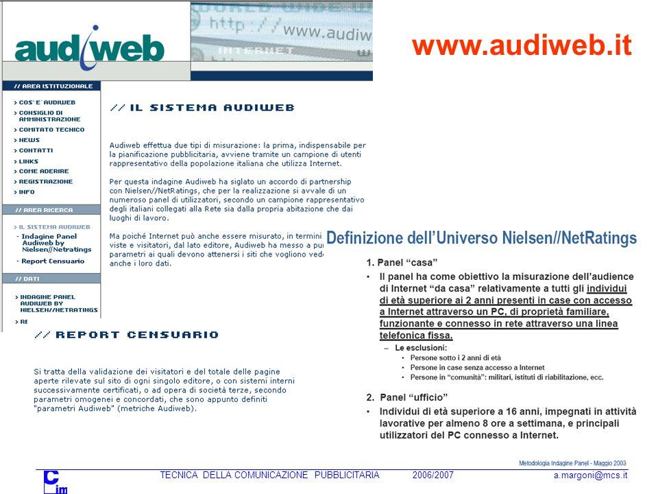 TECNICA DELLA COMUNICAZIONE PUBBLICITARIA 2006/2007 a.margoni@mcs.it www.audiweb.it