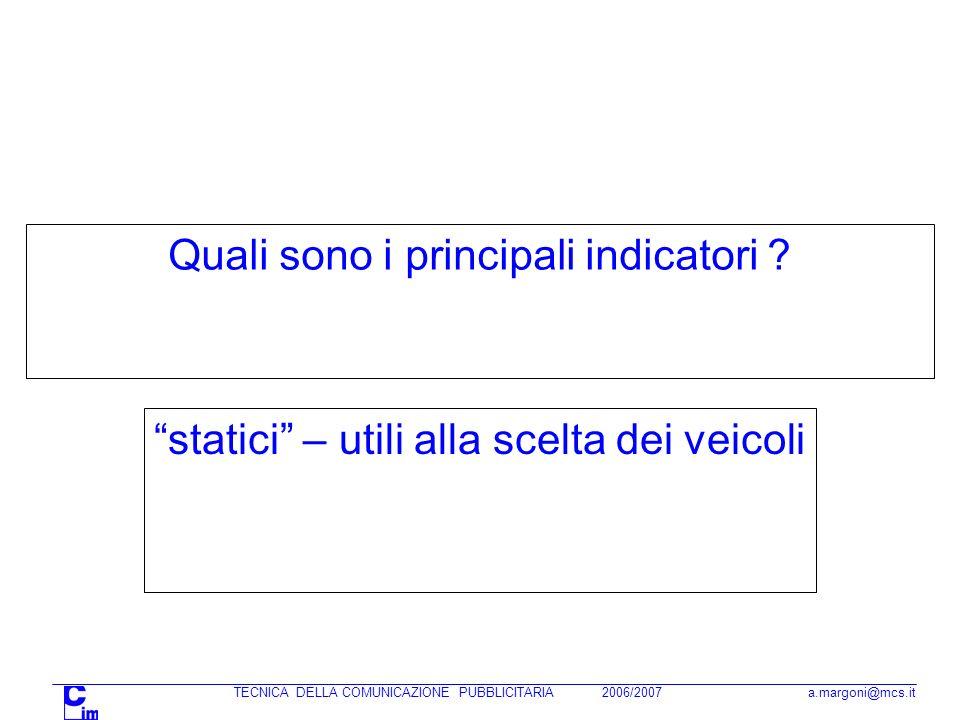 TECNICA DELLA COMUNICAZIONE PUBBLICITARIA 2006/2007 a.margoni@mcs.it Quali sono i principali indicatori ? statici – utili alla scelta dei veicoli