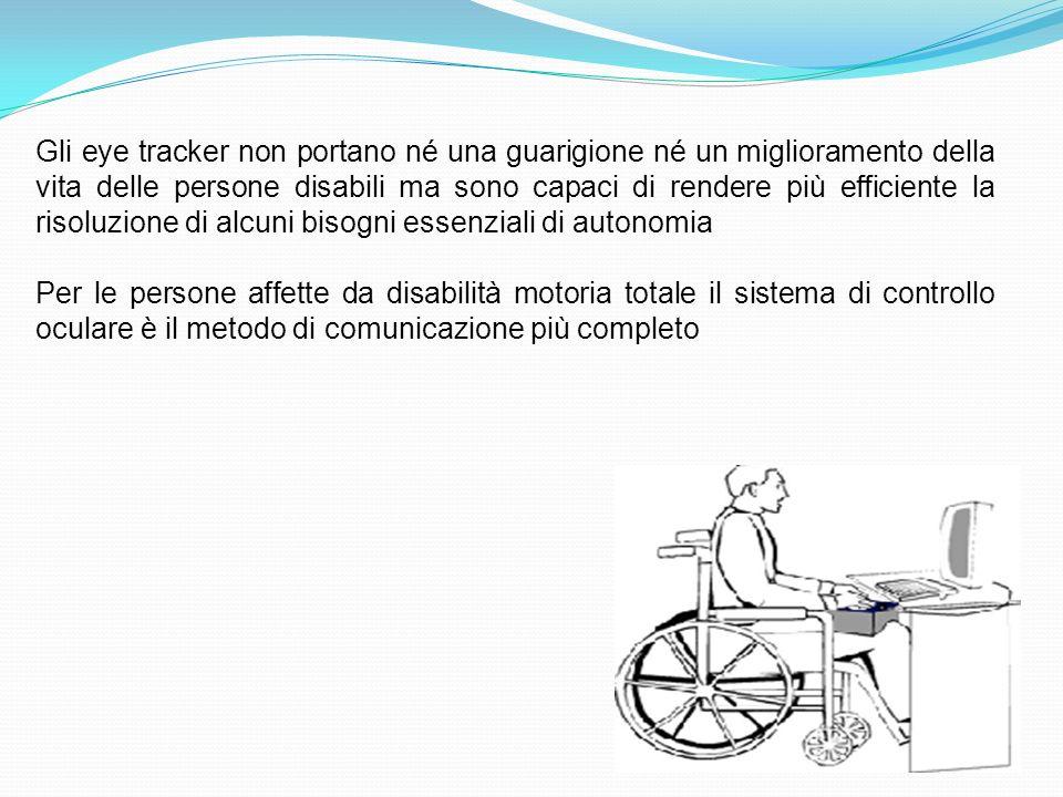 Gli eye tracker non portano né una guarigione né un miglioramento della vita delle persone disabili ma sono capaci di rendere più efficiente la risoluzione di alcuni bisogni essenziali di autonomia Per le persone affette da disabilità motoria totale il sistema di controllo oculare è il metodo di comunicazione più completo