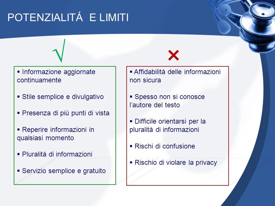 POTENZIALITÁ E LIMITI Informazione aggiornate continuamente Stile semplice e divulgativo Presenza di più punti di vista Reperire informazioni in quals
