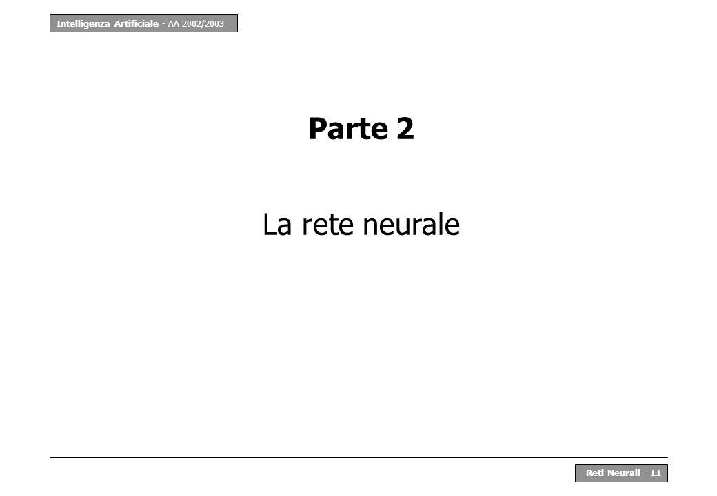 Intelligenza Artificiale - AA 2002/2003 Reti Neurali - 11 Parte 2 La rete neurale