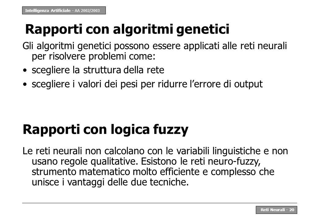 Intelligenza Artificiale - AA 2002/2003 Reti Neurali - 20 Rapporti con algoritmi genetici Gli algoritmi genetici possono essere applicati alle reti ne