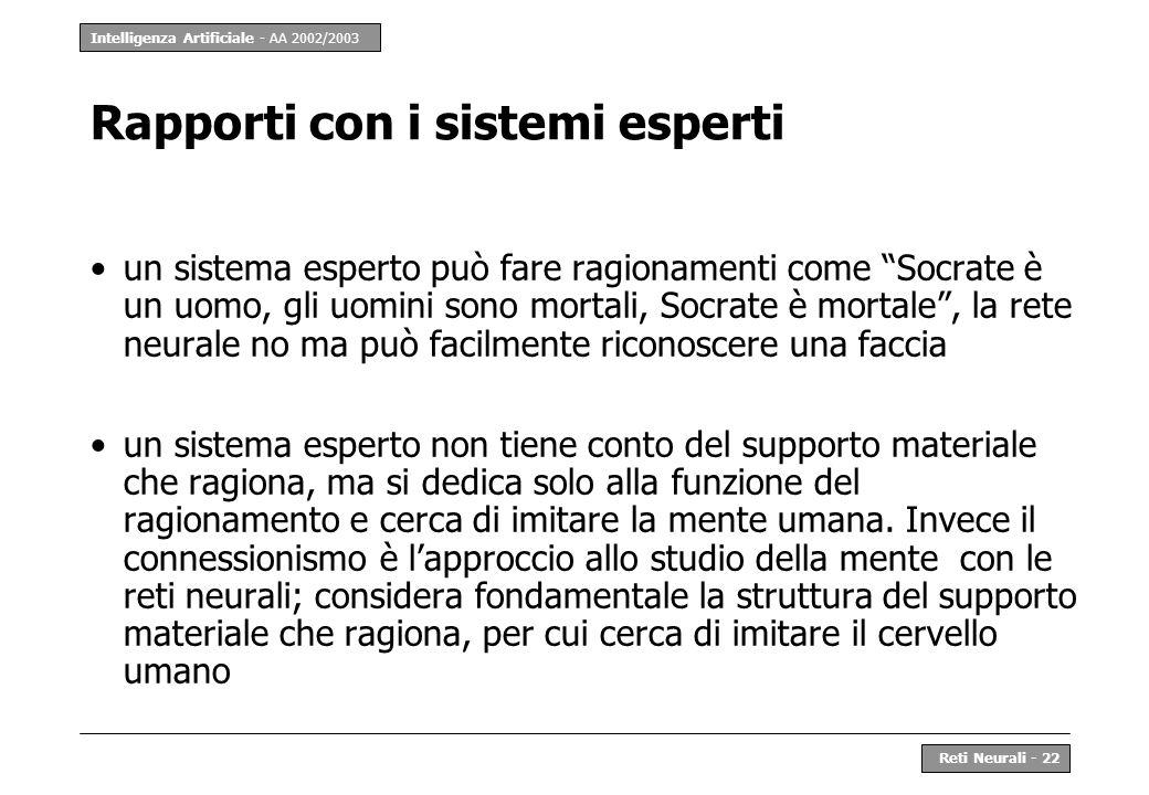 Intelligenza Artificiale - AA 2002/2003 Reti Neurali - 22 Rapporti con i sistemi esperti un sistema esperto può fare ragionamenti come Socrate è un uo