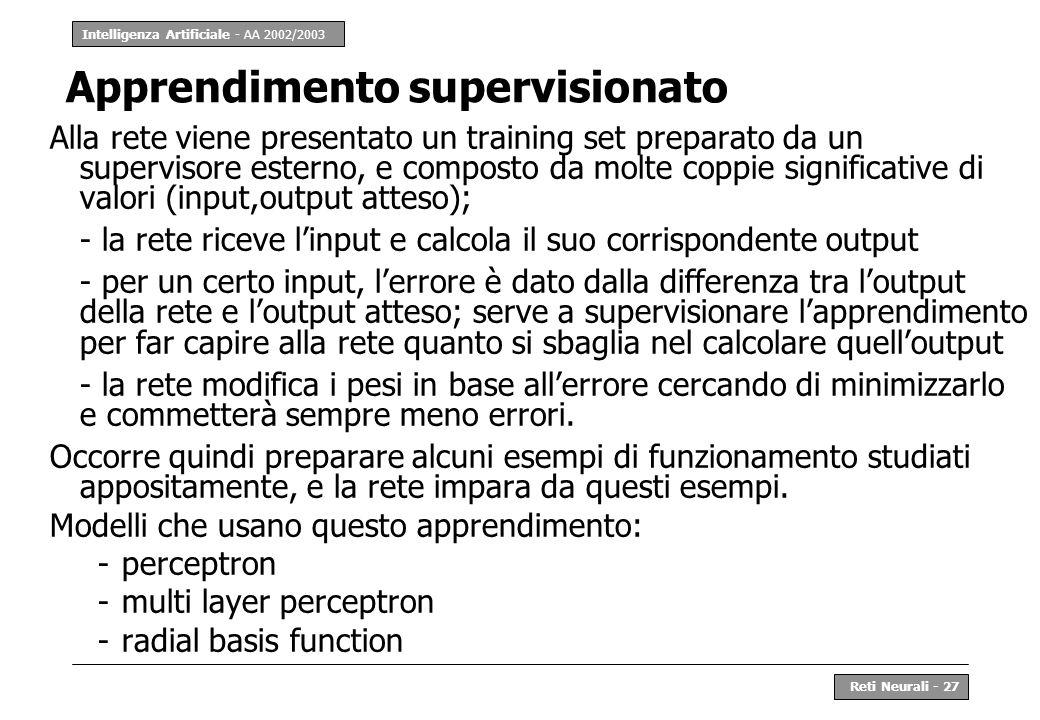 Intelligenza Artificiale - AA 2002/2003 Reti Neurali - 27 Apprendimento supervisionato Alla rete viene presentato un training set preparato da un supe