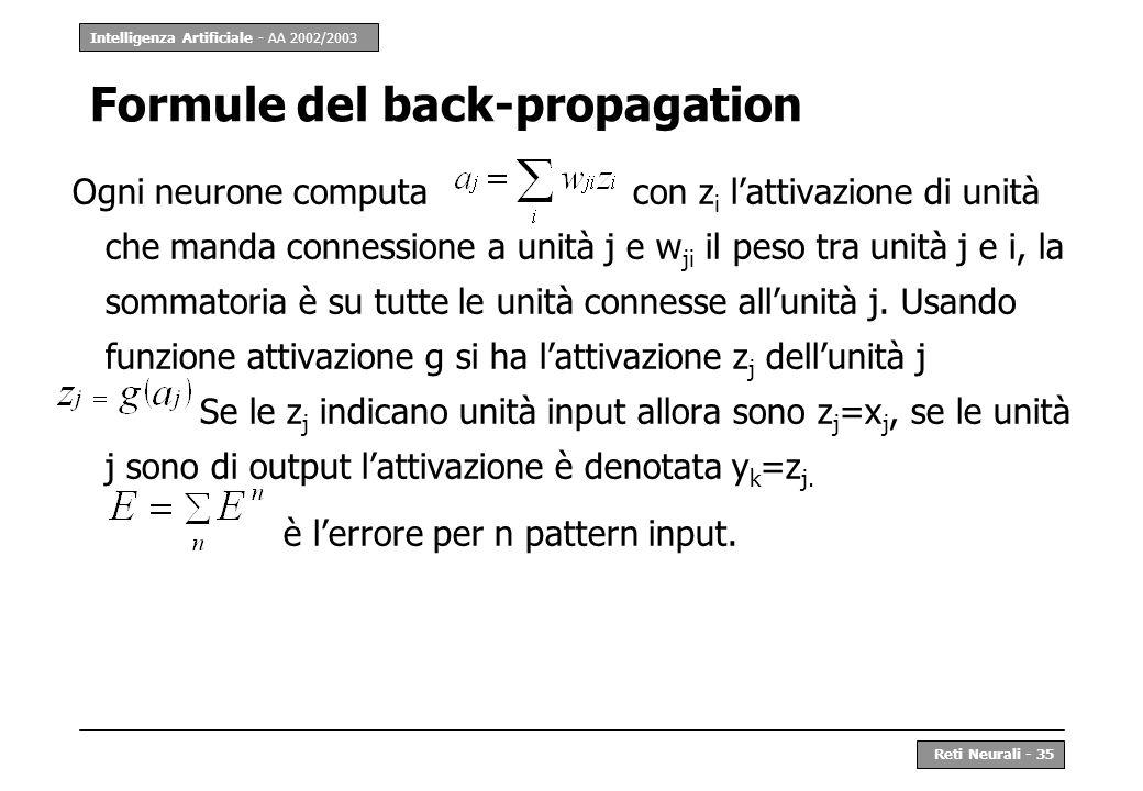 Intelligenza Artificiale - AA 2002/2003 Reti Neurali - 35 Formule del back-propagation Ogni neurone computa con z i lattivazione di unità che manda co