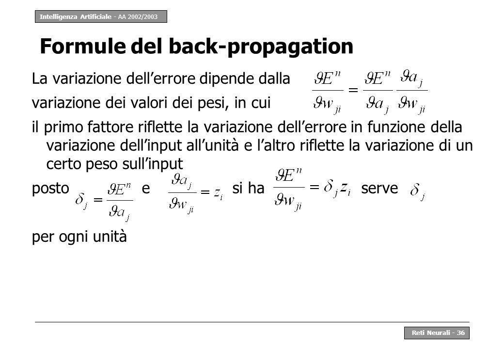 Intelligenza Artificiale - AA 2002/2003 Reti Neurali - 36 Formule del back-propagation La variazione dellerrore dipende dalla variazione dei valori de