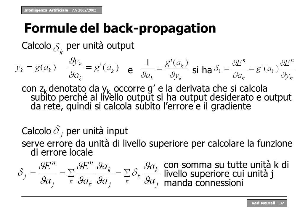 Intelligenza Artificiale - AA 2002/2003 Reti Neurali - 37 Formule del back-propagation Calcolo per unità output esi ha con z k denotato da y k, occorr