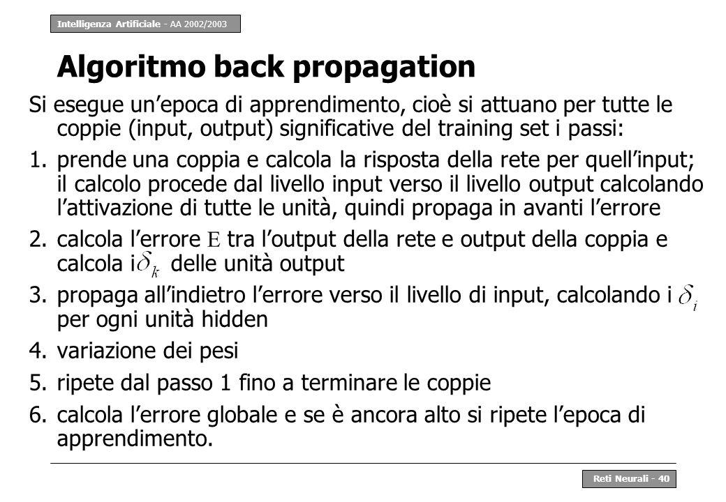 Intelligenza Artificiale - AA 2002/2003 Reti Neurali - 40 Algoritmo back propagation Si esegue unepoca di apprendimento, cioè si attuano per tutte le