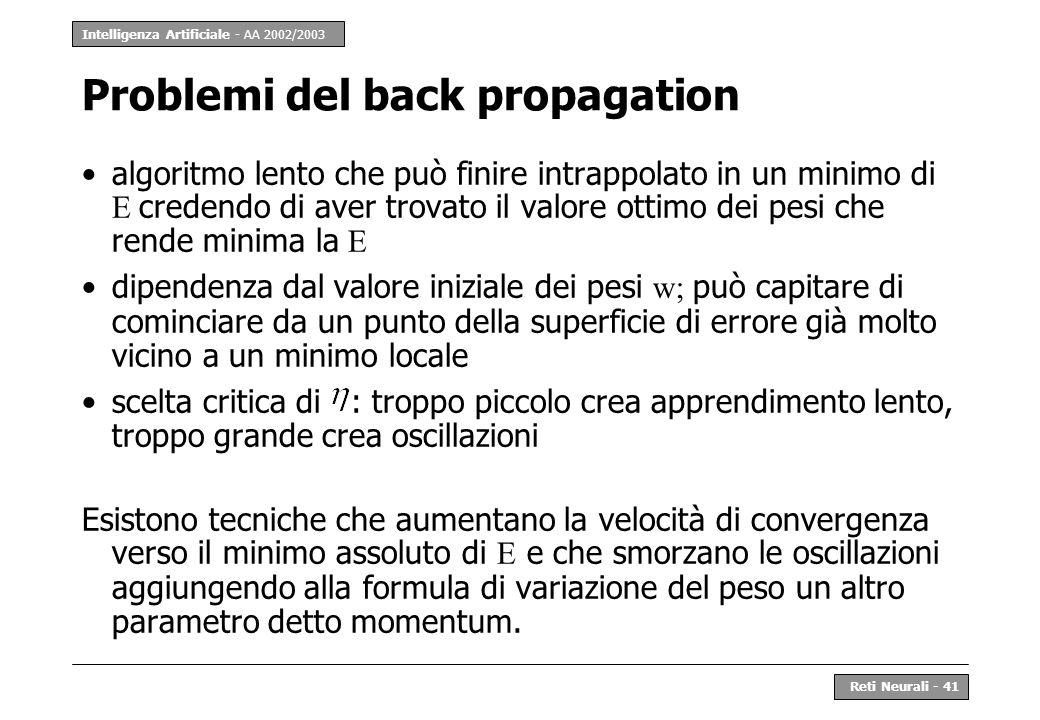 Intelligenza Artificiale - AA 2002/2003 Reti Neurali - 41 Problemi del back propagation algoritmo lento che può finire intrappolato in un minimo di E