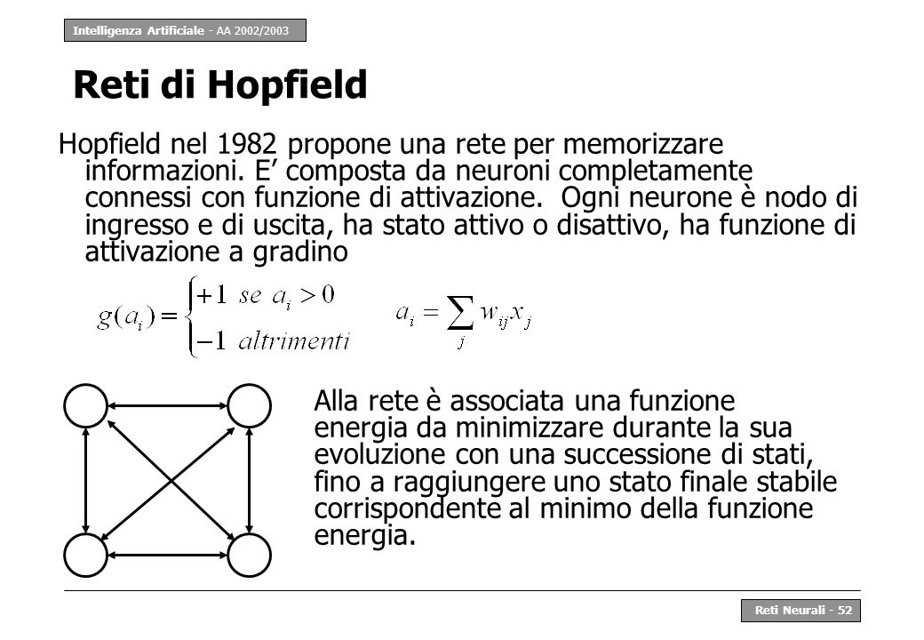 Intelligenza Artificiale - AA 2002/2003 Reti Neurali - 52 Reti di Hopfield Hopfield nel 1982 propone una rete per memorizzare informazioni. E composta