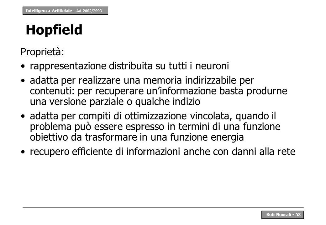 Intelligenza Artificiale - AA 2002/2003 Reti Neurali - 53 Hopfield Proprietà: rappresentazione distribuita su tutti i neuroni adatta per realizzare un