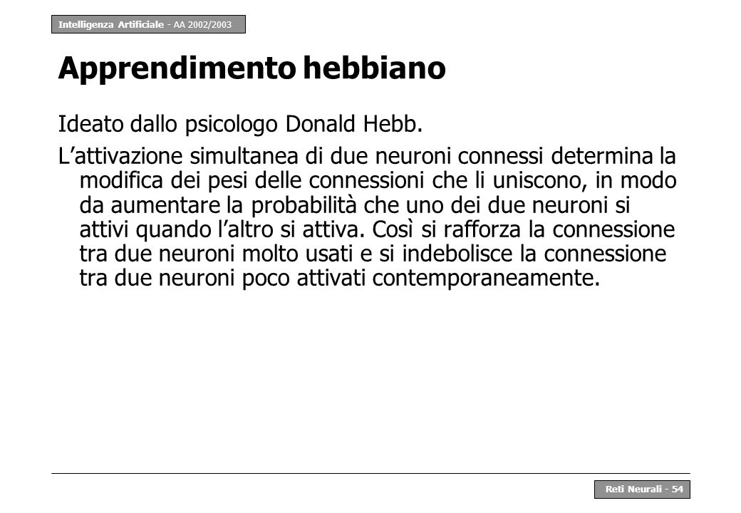 Intelligenza Artificiale - AA 2002/2003 Reti Neurali - 54 Apprendimento hebbiano Ideato dallo psicologo Donald Hebb.