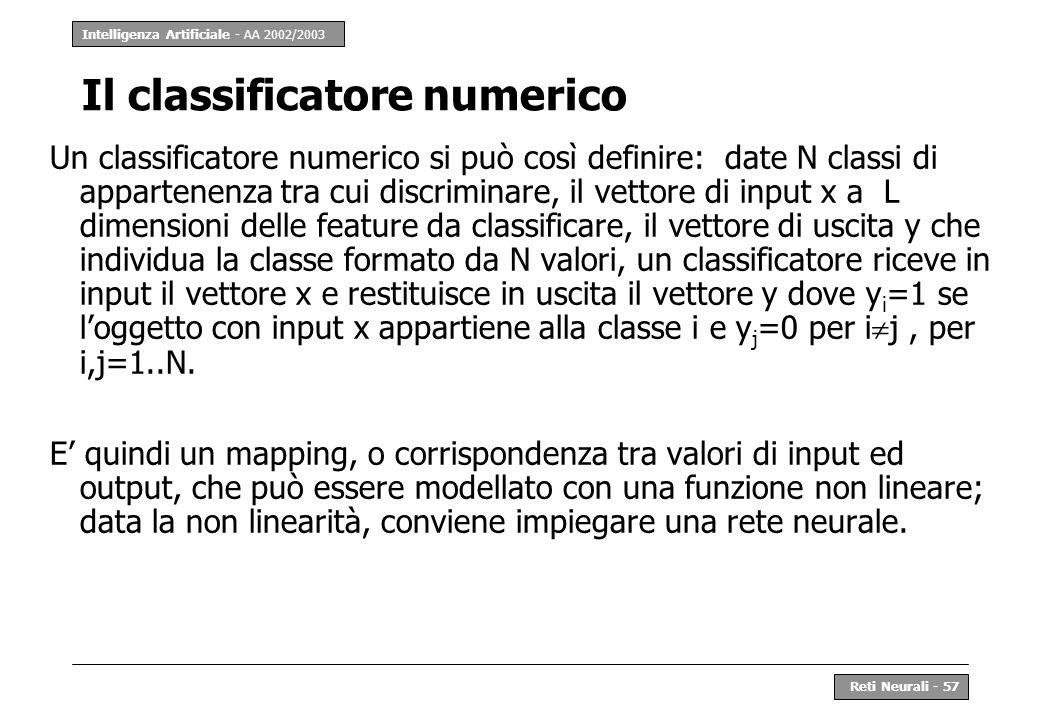 Intelligenza Artificiale - AA 2002/2003 Reti Neurali - 57 Il classificatore numerico Un classificatore numerico si può così definire: date N classi di
